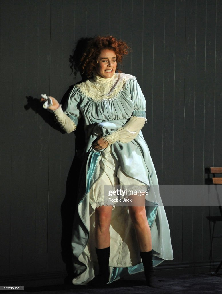 Nikki Shiels in Malthouse Theatre / Black Swan State Theatre's production of Joan Lindsay's Picnic at Hanging Rock directed by Matthew Lutton at The Barbican on February 21, 2018 in London, England.