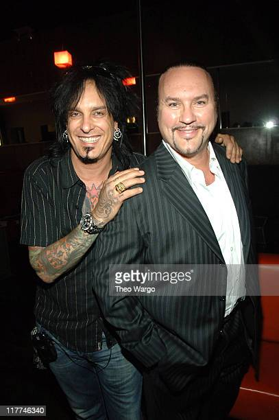 Nikki Sixx and Desmond Child during Meat Loaf 'Bat Out of Hell III The Monster is Loose' Press Conference and Listening Party at Avalon in New York...