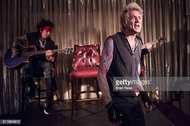 Nikki Sixx and James Michael of SixxAM perform at Sanctum Soho on February 23 2016 in London England
