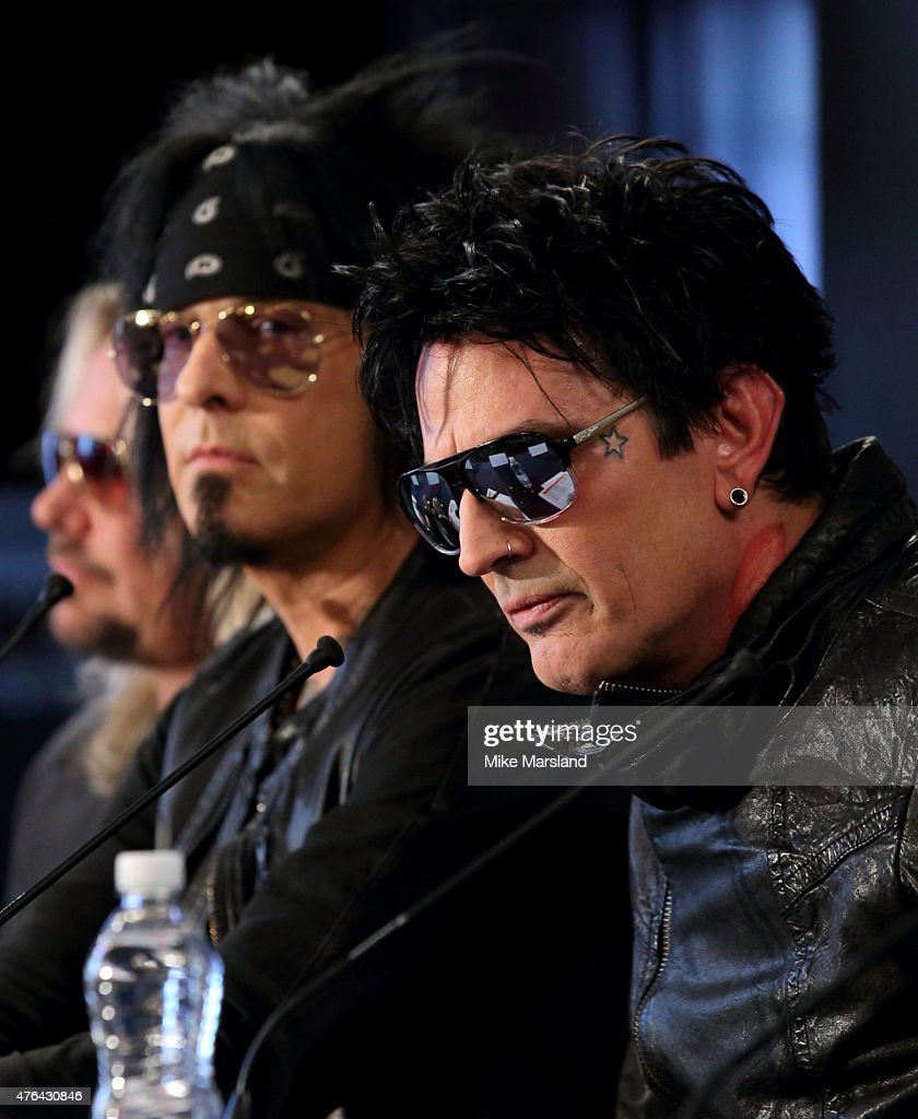 Nikki Sixx and Tommy Lee attend the last ever European press conference for Motley Crue at Law Society on June 9, 2015 in London, England.