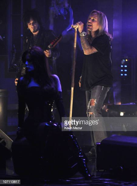 *EXCLUSIVE* Nikki Sixx and Vince Neil of Motley Crue perform at The Late Show with David Letterman to promote their new album Saints of Los Angeles...