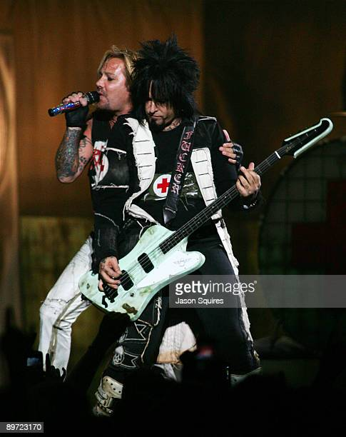 Nikki Sixx and VInce Neil of Motley Crue perform during Crue Fest 2 at the Sprint Center on August 9 2009 in Kansas City Missouri