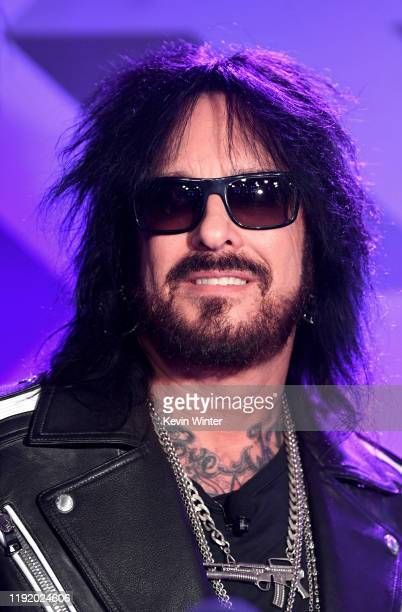 Nikki Sixx appears onstage at a press conference with Mötley Crüe Def Leppard and Poison announcing their 2020 Stadium Tour on December 04 2019 in...