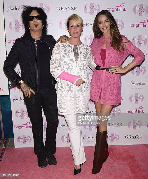Nikki Sixx CEO Grayse Kelly Gray and Courtney Sixx arrive at the HOW2GIRL Courtney Sixx And GRAYSE CEO Kelly Gray Host Event For Bright Pink Cancer...