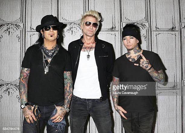 Nikki Sixx James Michael and DJ Ashba attend AOL Build Speaker Series to discuss SixxAM Prayers For The Damned Vol 1 at AOL Studios In New York on...