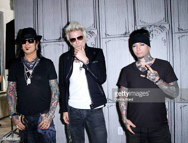 Nikki Sixx James Michael and DJ Ashba of SixxAM appears to promote Prayers or the Damned Vol 1 during AOL BUILD Seriesat AOL Studios In New York on...