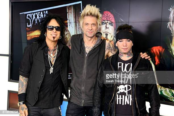 Nikki Sixx, James Michael and DJ Ashba of the band Sixx:A.M. Appear On The Morning Show at The Morning Show Studios on March 3, 2016 in Toronto,...