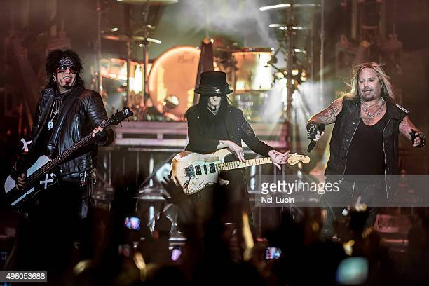 Nikki Sixx Mick Mars and Vince Neill of Motley Crue perform at SSE Arena Wembley on November 6 2015 in London England