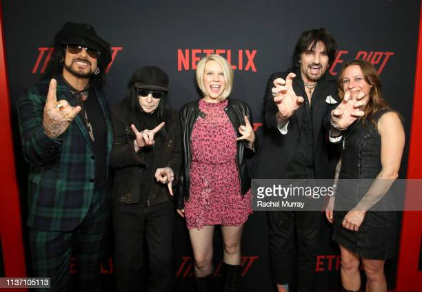 Nikki Sixx Mick Mars Suzy Cole Tommy Lee and gest attend the premiere of Netflix's 'The Dirt' at the Arclight Hollywood on March 18 2019 in Hollywood...