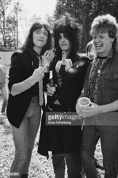 Nikki Sixx of Motley Crue backstage with fans at Monsters Of Rock festival Donington Park Leicestershire United Kingdom August 18th 1984