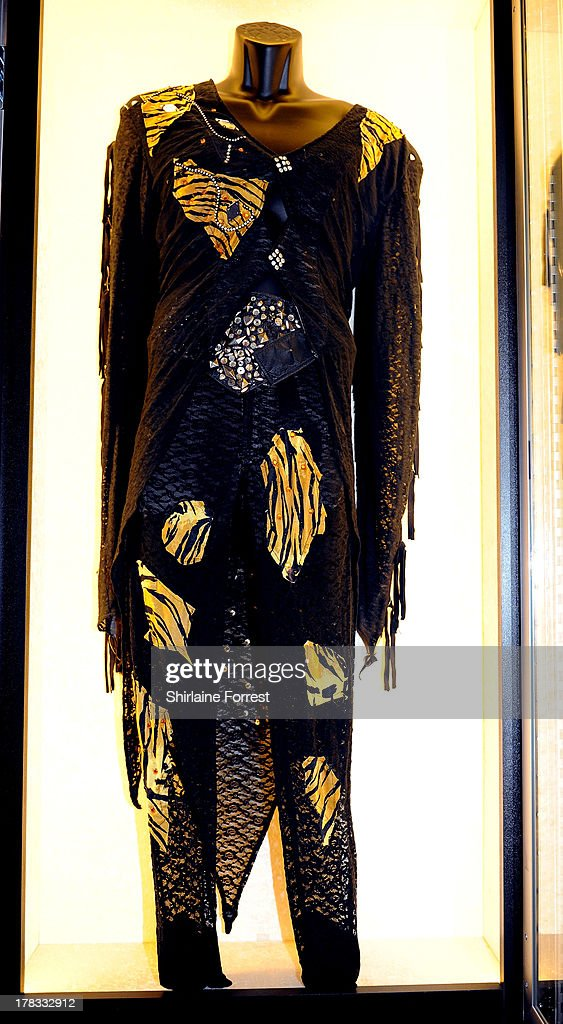 Nikki Sixx of Motley Crue's stage outfit is displayed as part of Hard Rock Cafe's Hard Rock Couture exhibition on August 29, 2013 in Manchester, England.