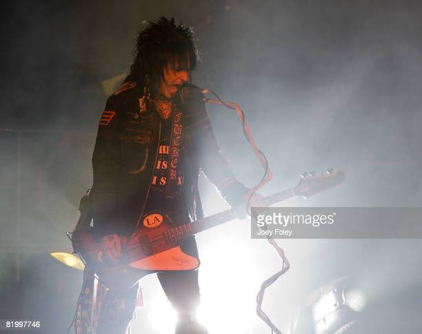 Nikki Sixx of the rock band Motley Crue performs live during Crue Fest 2008 at the Verizon Wireless Music Center on July 18 2008 in Noblesville...