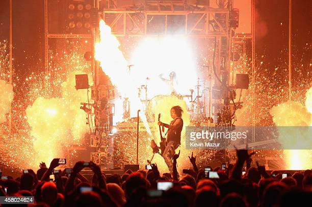 Nikki Sixx performs at Motley Crue The Final Tour with special guest Alice Cooper at Madison Square Garden on October 28 2014 in New York City