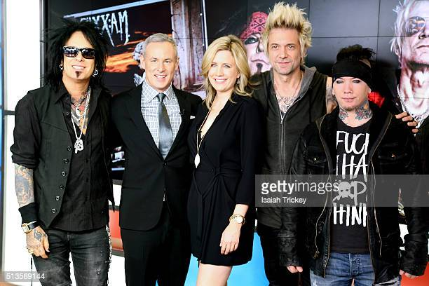 Nikki Sixx, The Morning Show hosts Liza Fromer, Jeff McArthur with James Michael and DJ Ashba of the band Sixx:A.M. Appear On The Morning Show at The...