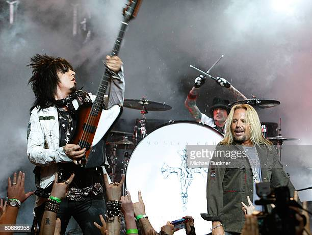 Nikki Sixx Tommy Lee and singer Vince Neil of Motley Crue perform during a press conference annoucing Crue Fest 2008 at Avalon Hollywood on April 15...