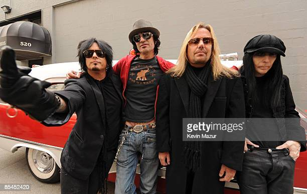 NEW YORK MARCH 16 Nikki Sixx Tommy Lee Vince Neil and Mick Mars of Motley Crue prepare to arrive to Fuse studios for their Crue Fest 2 line up press...