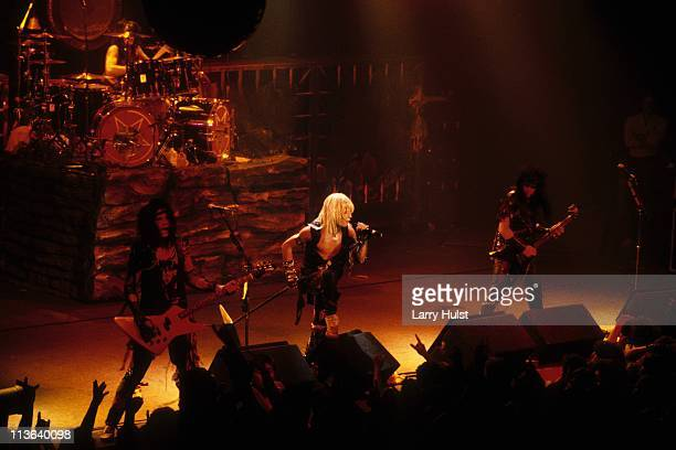 Nikki Sixx Tommy Lee Vince Neil and Mick Mars of the rock band Motley Crue performing at the San Jose Civic Center in San Jose California on April 26...