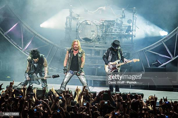 Nikki Sixx Vince Neil Mick Mars and Tommy Lee from Motley Crue perform at Le Zenith on June 18 2012 in Paris France