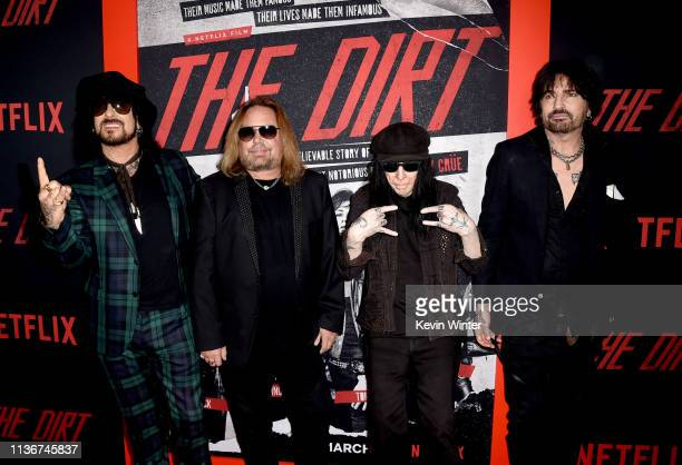 Nikki Sixx Vince Neil Mick Mars and Tommy Lee of Motley Crue arrive at the premiere of Netflix's The Dirt at ArcLight Hollywood on March 18 2019 in...