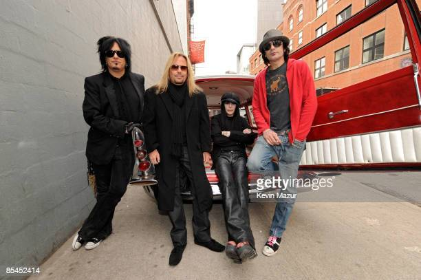 NEW YORK MARCH 16 Nikki Sixx Vince Neil Tommy Lee and Mick Mars of Motley Crue prepare to arrive to Fuse studios for their Crue Fest 2 line up press...