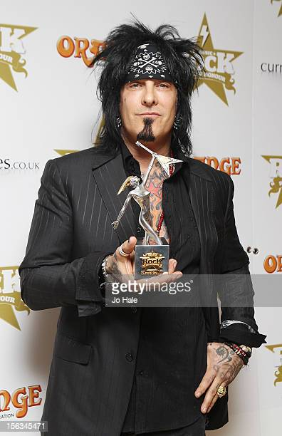 Nikki Sixx wins Showman of The Year Award at the Classic Rock Roll of Honour at The Roundhouse on November 13 2012 in London England