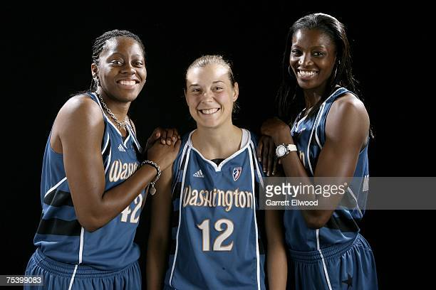 Nikki Teasley Laurie Koehn and DeLisha MiltonJones of the Washington Mystics poses for a portrait during the 2007 WNBA AllStar Media Availability on...