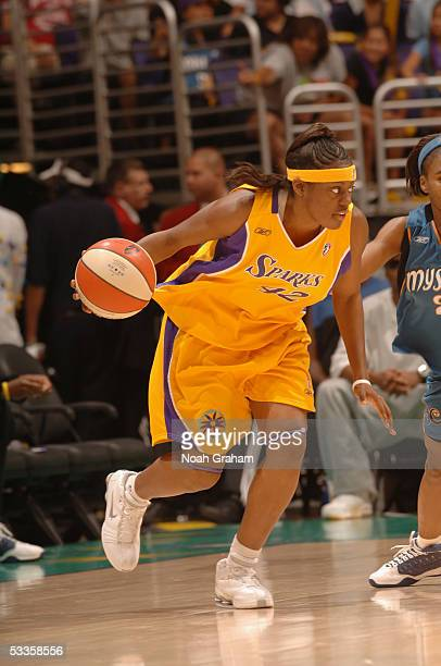 Nikki Teasley of the Los Angeles Sparks drives against the Washington Mystics during the WNBA game on July 19 2005 at Staples Center in Los Angeles...