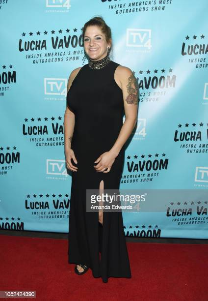 Nikki the NY Knockout arrives at the 'Lucha Vavoom Inside America's Most Outrageous Show' premiere at the Harmony Gold Theatre on October 17 2018 in...