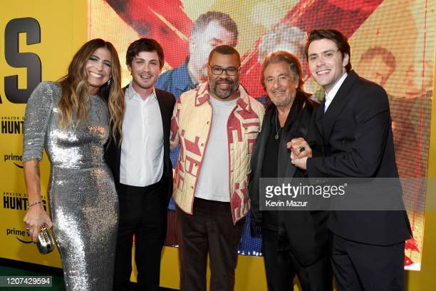 Nikki Toscano Logan Lerman Jordan Peele Al Pacino and David Weil attend the World Premiere Of Amazon Original Hunters at DGA Theater on February 19...