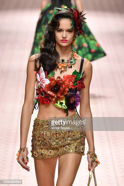 Nikki Von See walks the runway at the Dolce Gabbana show during Milan Fashion Week Spring/Summer 2019 on September 23 2018 in Milan Italy