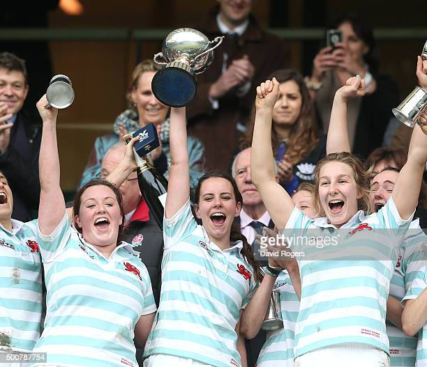 Nikki Weckman captain of Cambridge University Women's team celebrates with team mates after their victory during the Oxford University and Cambridge...