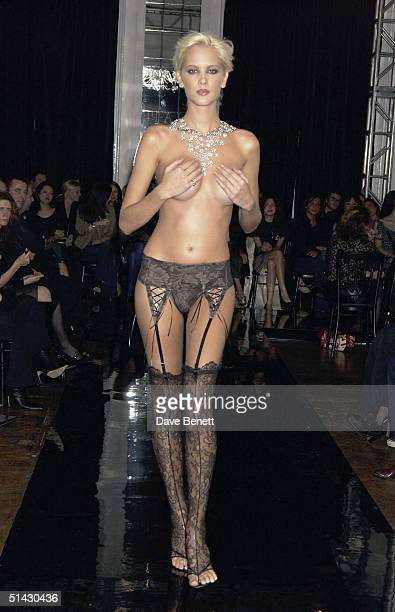 Nikki Welsh models for The La Perla Lingerie and De Beers Charity Fashion Show in aid of Cancer Research UK on February 4 2004 in London
