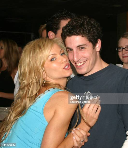 Nikki Ziering and Jason Biggs during Playboy's July Cover Model Nikki Ziering Playboy Playmates cast of American Wedding host a Private VIP Media...
