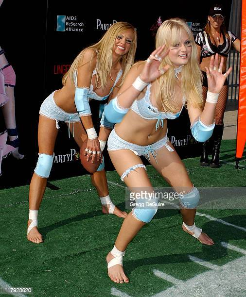 Nikki Ziering and Tiffany Haugen during Press Conference for This Week's 1st Annual Lingerie Bowl at Los Angeles Coliseum in Los Angeles California...