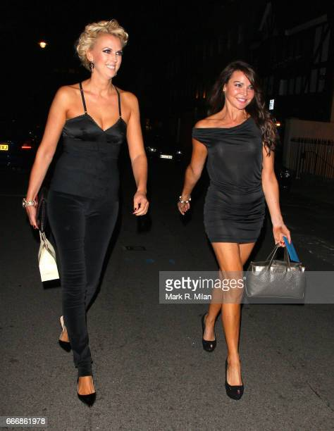 Nikki Zilli and Lizzie Cundy depart the birthday celebration of Gary Cockerill held at Guy Richie's pub The Punch Bowl on October 1 2011 in London...