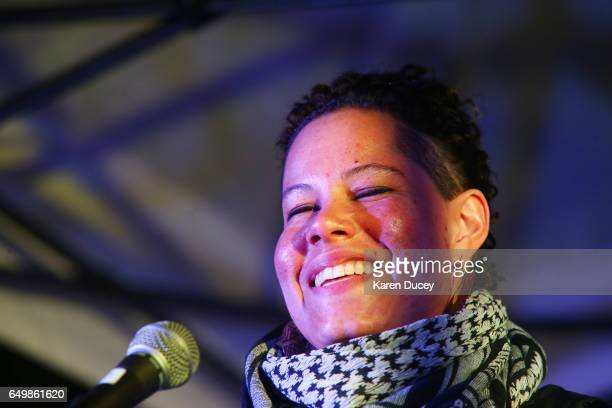 Nikkita Oliver Black Lives Matter and No Youth Jail movement activist speaks a rally at Westlake Center on March 8 2017 in Seattle Washington The...