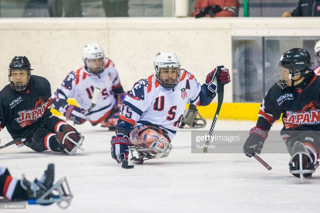 Nikko Landeros (USA) during International Para Ice Hockey Tournament of Torino Semifinal match between USA and Japan in Turin, italy, on 26 Januray 2018. Usa team won 9 - 0. This is the last tournament before the Paralympic Games of Pyeongchang 2018 in Korea.
