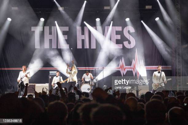 September 18: Niklas Almqvist, Johan Gustafsson, Per Almqvist, Christian Grahn and Mikael Karlsson of The Hives perform live on stage during day 2 of...