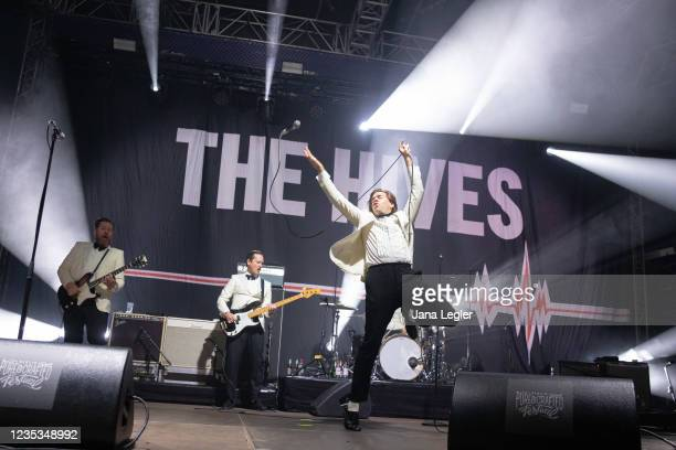September 18: Niklas Almqvist, Johan Gustafsson, Per Almqvist of The Hives perform live on stage during day 2 of Pure & Crafted Festival in Berlin on...