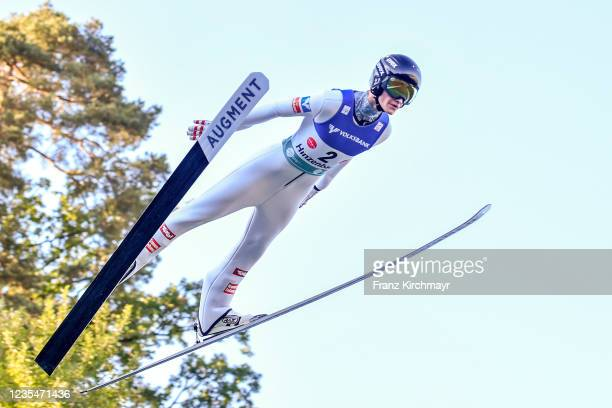 Niklas Bachlinger of Austria competes during the FIS Grand Prix Skijumping Hinzenbach at on February 6, 2021 in Eferding, Austria.