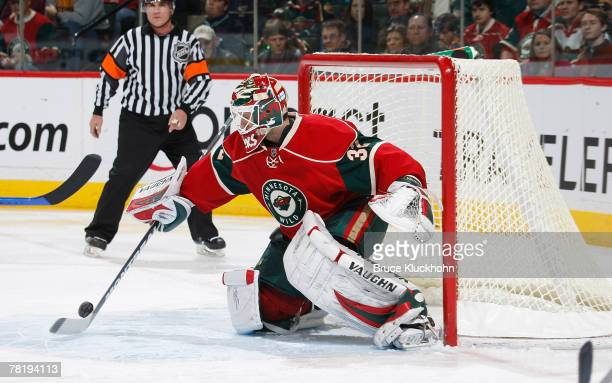 Niklas Backstrom of the Minnesota Wild blocks a shot against the St. Louis Blues during the game at Xcel Energy Center November 30, 2007 in St. Paul,...