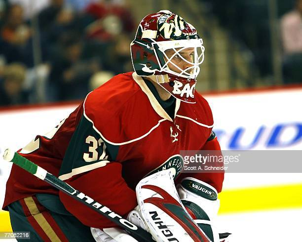 Niklas Backstrom of the Minnesota Wild stopped all 18 shots by the St Louis Blues during their preason game September 26 2007 at the Xcel Energy...