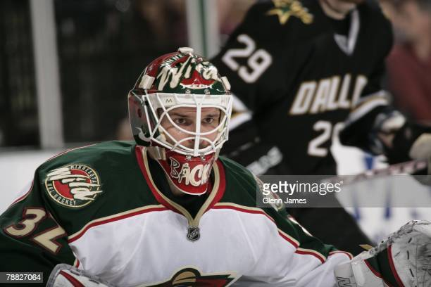 Niklas Backstrom of the Minnesota Wild tends goal against the Dallas Stars at the American Airlines Center on January 7, 2008 in Dallas, Texas.
