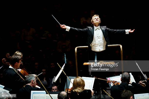 Niklas Benjamin Hoffmann, winner of the Donatella Flick LSO Conducting Competition, conducts the London Symphony Orchestra at the Donatella Flick LSO...