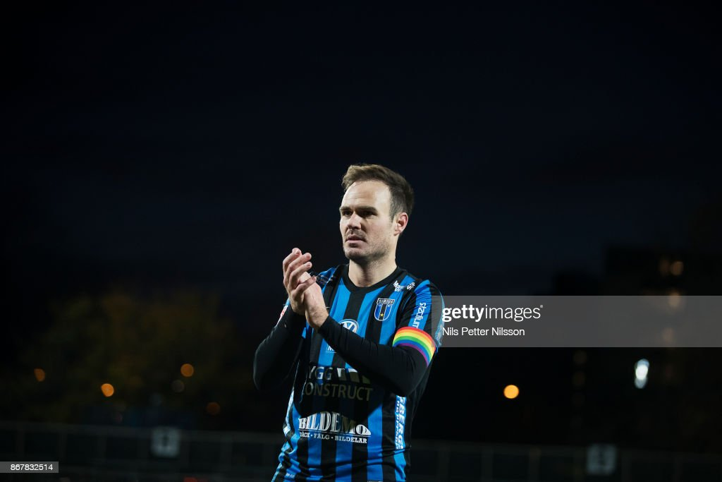Niklas Busch Thor of IK Sirius FK celebrates after the Allsvenskan match between IK Sirius and Malmo FF at Studenternas IP on October 29, 2017 in Uppsala, Sweden.