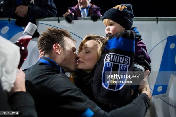 Niklas Busch Thor of IK Sirius FK kisses his wife Christ Democrat party leader Ebba Busch Thor after playing his last match in his career after the...