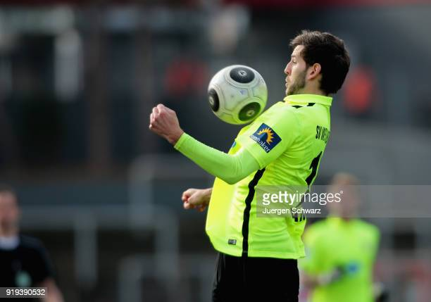 Niklas Dams of Wiesbaden controls the ball during the 3 Liga match between SC Fortuna Koeln and SV Wehen Wiesbaden at Suedstadion on February 17 2018...