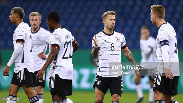 Niklas Dorsch of Germany celebrates with team mates after Lukas Nmecha of Germany of Germany scored his teams first goal during the UEFA Euro Under...