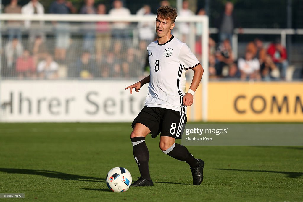 Niklas Dorsch of Germany runs with the ball during the international friendly match between U19 Germany and U19 Netherlands on September 5, 2016 in Luckenwalde, Germany.