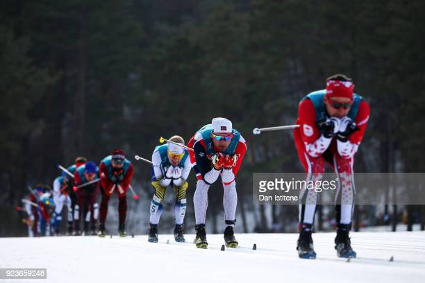 Niklas Dyrhaug of Norway competes during the Men's 50km Mass Start Classic on day 15 of the PyeongChang 2018 Winter Olympic Games at Alpensia...